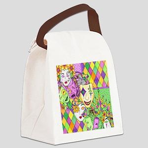 Too Much Fun Mardi Gras Masks Canvas Lunch Bag