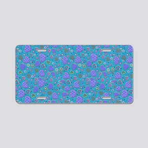 Girly Purple and Blue Heart Aluminum License Plate