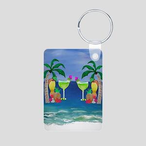 Tropical Drinks Aluminum Photo Keychain