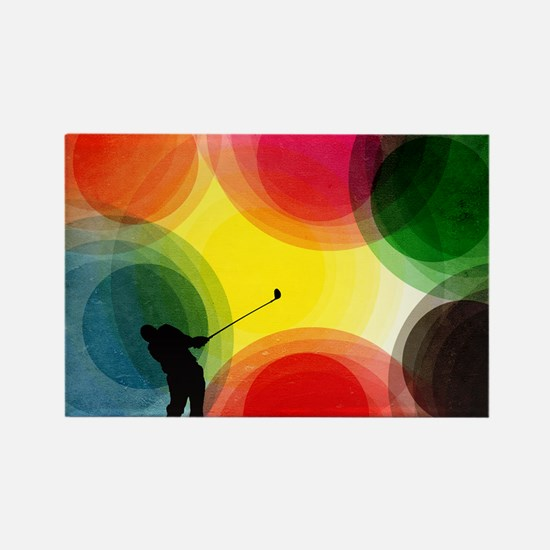 Colorful Retro Silhouette Golfer Rectangle Magnet