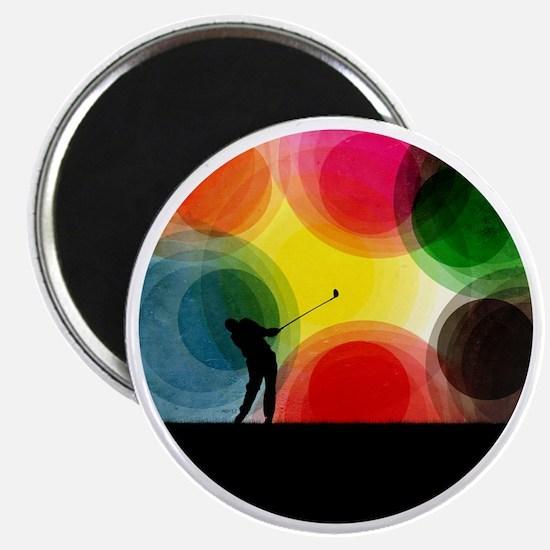 Colorful Retro Silhouette Golfer Magnet