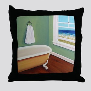 Window Sea Bath Tub Throw Pillow