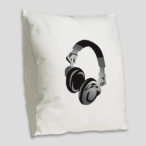 Headphones Burlap Throw Pillow