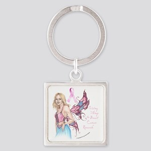 Breast Cancer Fairy button Square Keychain