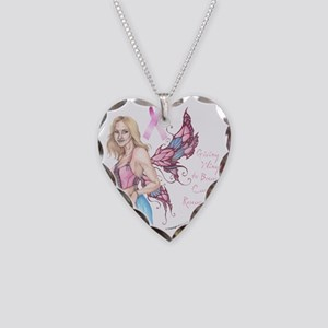 Breast Cancer Fairy button Necklace Heart Charm