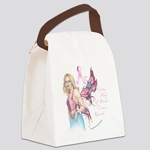 Breast Cancer Fairy button Canvas Lunch Bag