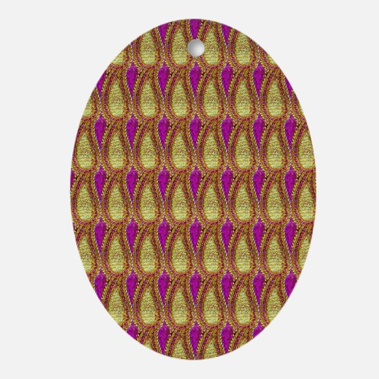 Pink and Gold Tear Drops Oval Ornament