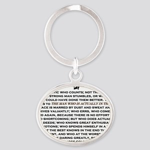 Man in the Arena Oval Keychain
