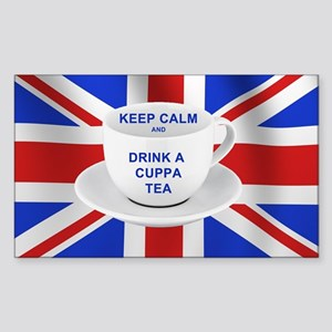 Keep Calm and Drink a Cuppa Te Sticker (Rectangle)