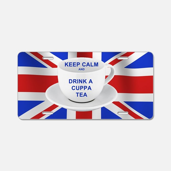 Keep Calm and Drink a Cuppa Aluminum License Plate