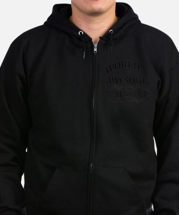 MOST AWESOME BIRTHDAY 70 Zip Hoodie (dark)
