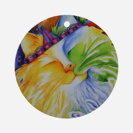 Fuzzy Abstract Cat Round Ornament