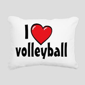 I Heart Volleyball Rectangular Canvas Pillow