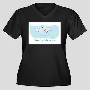 Save the Manatee! Women's Plus Size V-Neck Dark T-
