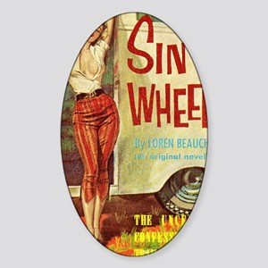 Sin On Wheels Sticker (Oval)