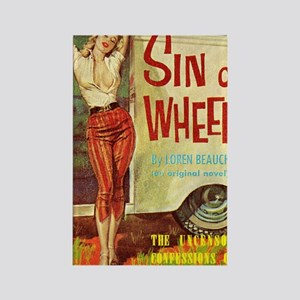 Sin On Wheels Rectangle Magnet