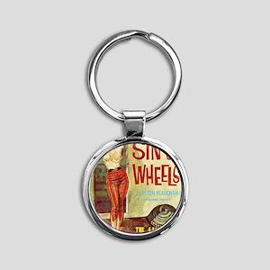Sin On Wheels Round Keychain