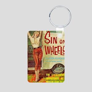 Sin On Wheels Aluminum Photo Keychain