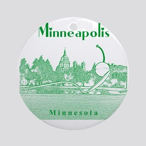 Minneapolis_10x10_SpoonbridgeAndChe Round Ornament