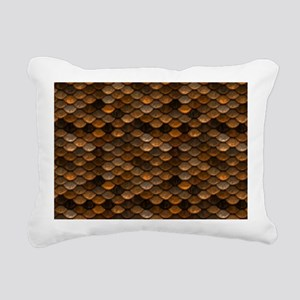 Golden Metal Scales Rectangular Canvas Pillow