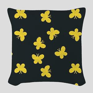 Yellow Butterflies Woven Throw Pillow