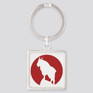 Great Northern Goat Red Square Keychain