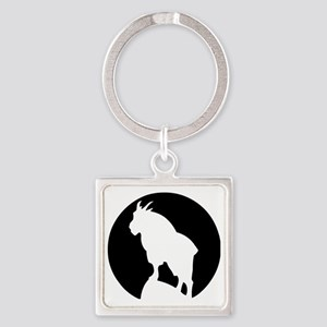 Great Northern Goat Black Square Keychain