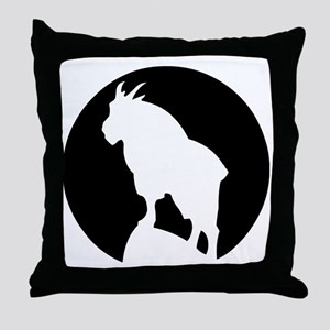Great Northern Goat Black Throw Pillow