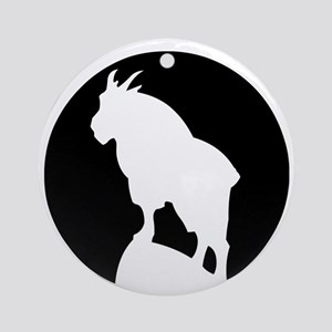 Great Northern Goat Black Round Ornament