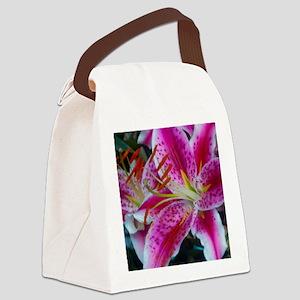 Stargazer Lily Framed Panel Print Canvas Lunch Bag
