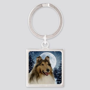 Collie Square Keychain