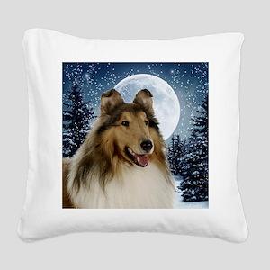 Collie Square Canvas Pillow