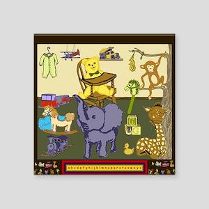"Baby Boy Nursery Toys ABC Square Sticker 3"" x 3"""