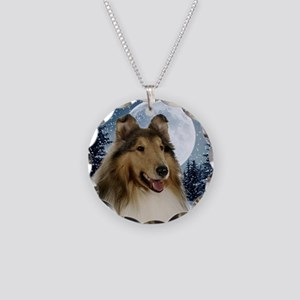 Collie Necklace Circle Charm