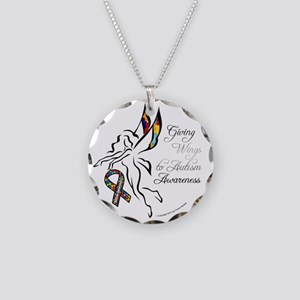 AutismfairyButton3 Necklace Circle Charm