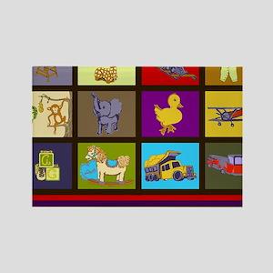 Baby Boy ABC Animal Toy Blocks Rectangle Magnet