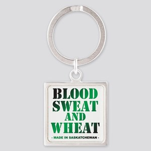 Blood Sweat and Wheat Square Keychain