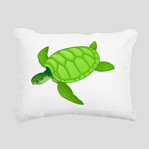 GREEN TURTLE HATCHLING Rectangular Canvas Pillow