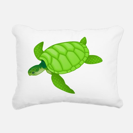 GREEN TURTLE HATCHLING Rectangular Canvas Pillow