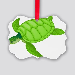GREEN TURTLE HATCHLING Picture Ornament