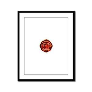 Maltese Cross Red Flame Framed Panel Print