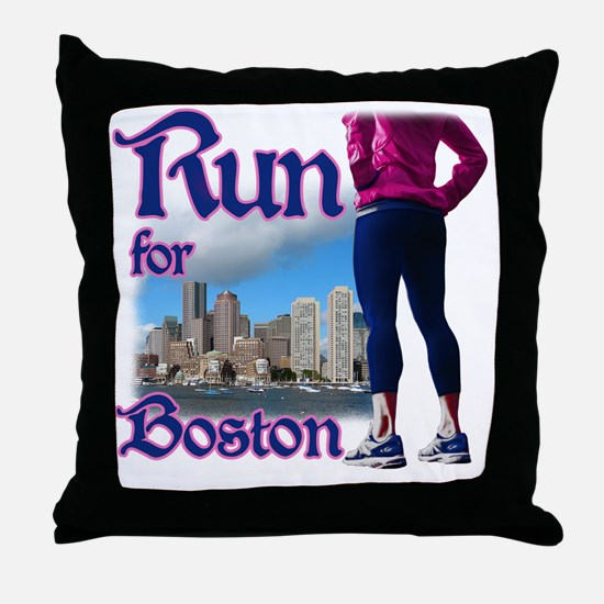 Run for Boston, MA Throw Pillow