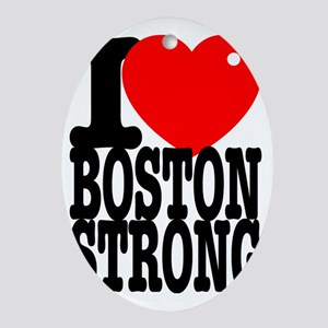 I Heart Boston Strong Oval Ornament