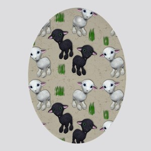 Lovable Lambs Oval Ornament