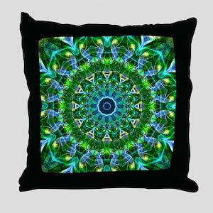 Green Spring Mandala Throw Pillow