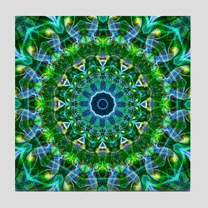 Green Spring Mandala Tile Coaster