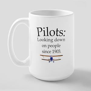 Pilots: Looking down on peopl Large Mug