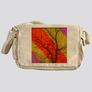 Tree with abstract painting in backg Messenger Bag