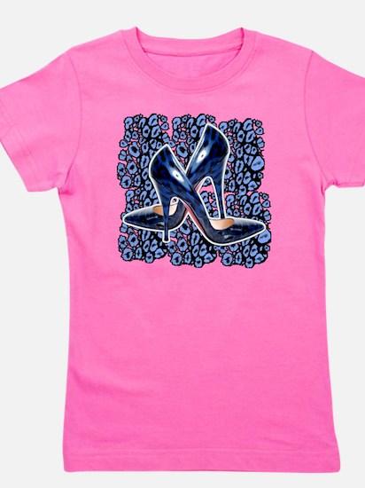 Blue Leopard Stilettos Girl's Tee