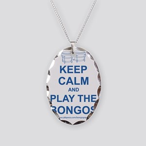 Keep Calm and Play the Bongos Necklace Oval Charm